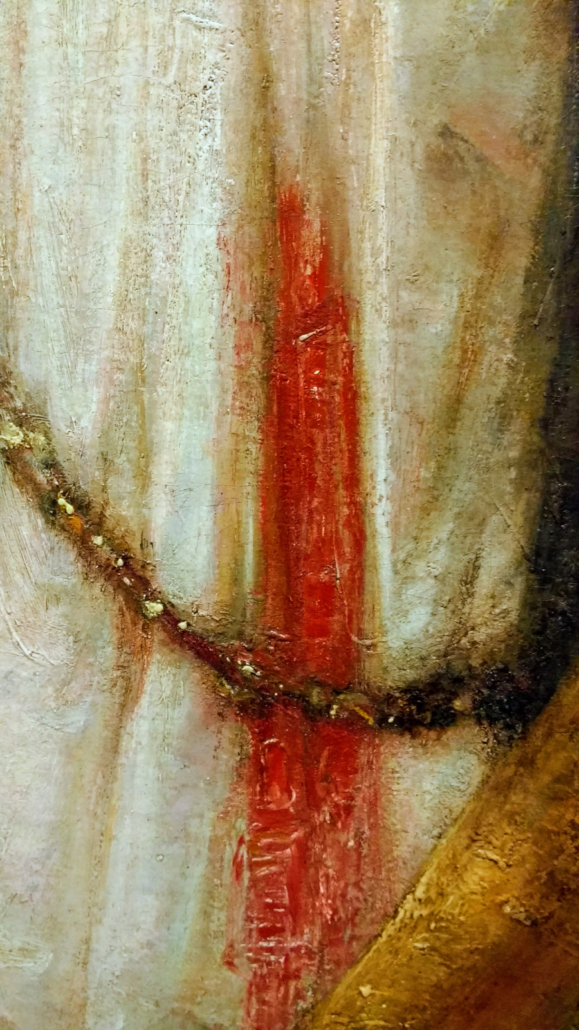 Lucretia, detail of stab wound